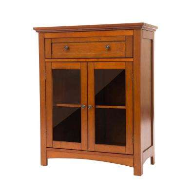 32 in. H Mahogany Brown Storage Cabinet with 1-Drawer and 2-Doors