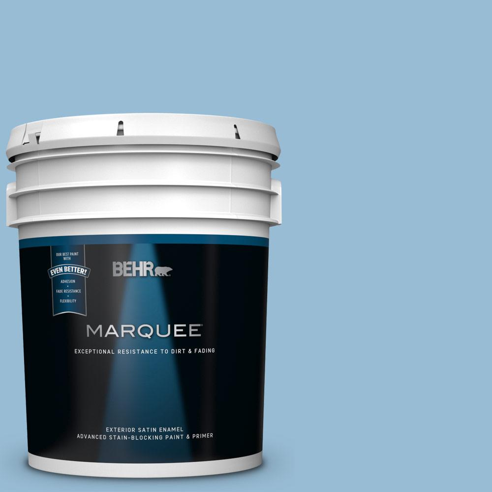 Behr Marquee 5 Gal Ppu14 11 Gentle Sky Satin Enamel Exterior Paint And Primer In One 945405 The Home Depot