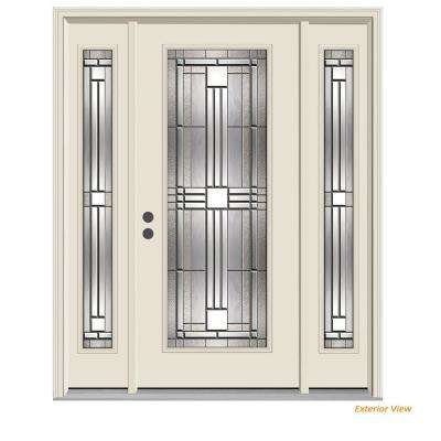 62 in. x 80 in. Full Lite Cordova Primed Steel Prehung Right-Hand Inswing Front Door with Sidelites