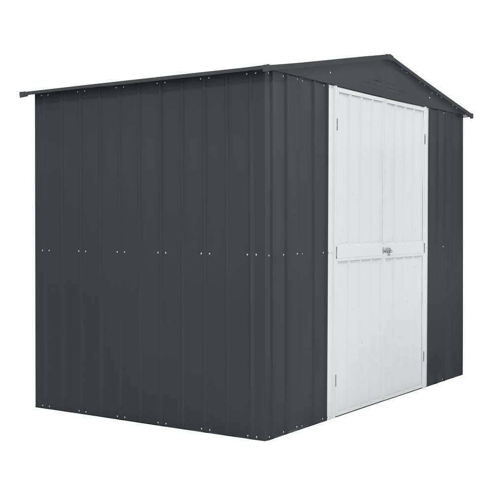 Globel 8 ft. x 6 ft. Slate Gray Aluminum White Hinged Door Storage Shed