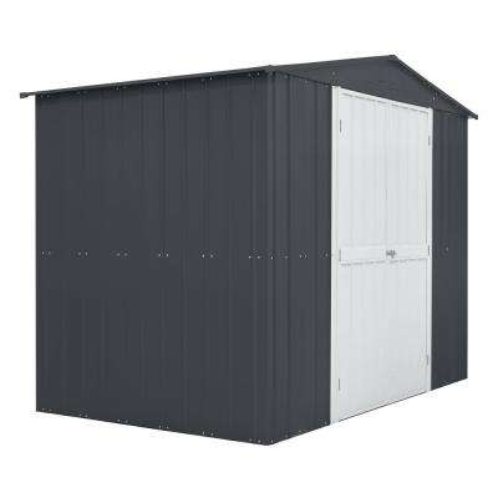8 ft. x 6 ft. Slate Gray Aluminum White Hinged Door Storage Shed