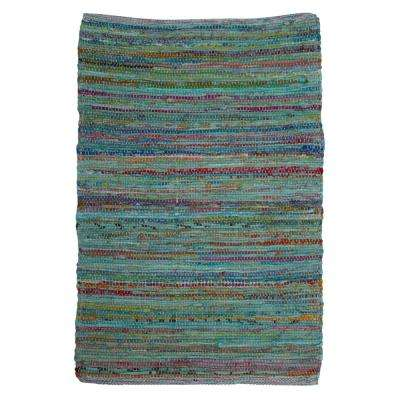 Multicolored 2 ft. x 3 ft. Paanee Stripe Chindi Area Rug