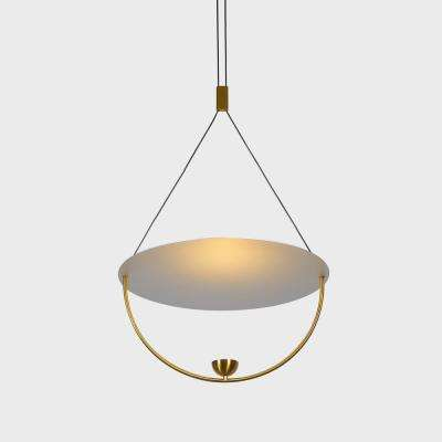 Como 10-Watt Integrated LED Antique Brass Pendant with Aluminum Shade