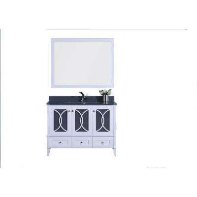 48 in. W x 22 in. D Vanity in White with Tempered Glass Vanity Top and Mirror