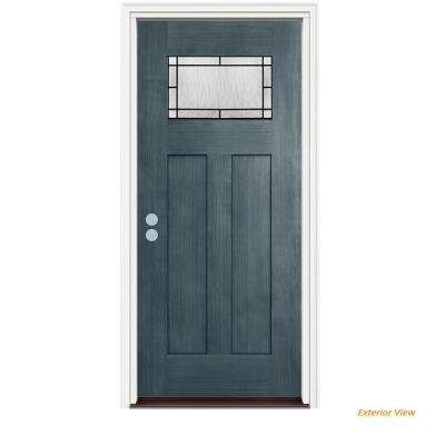 36 in. x 80 in. 1 Lite Craftsman Wendover Denim Stained Fiberglass Prehung Right-Hand Inswing Front Door w/Brickmould