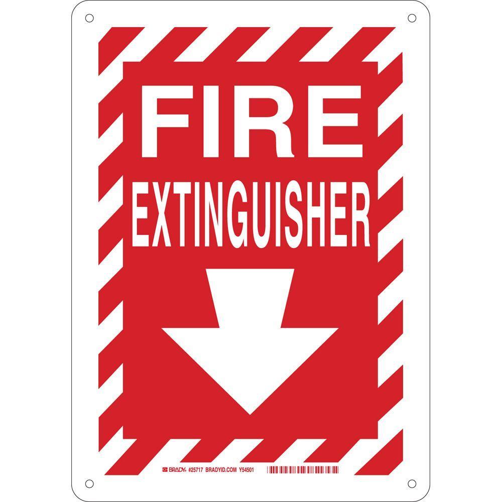 Brady 14 In X 10 In Plastic Fire Extinguisher With Arrow
