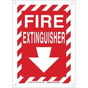 Click here to buy Brady 14 inch x 10 inch Plastic Fire Extinguisher with Arrow Safety Sign by Brady.