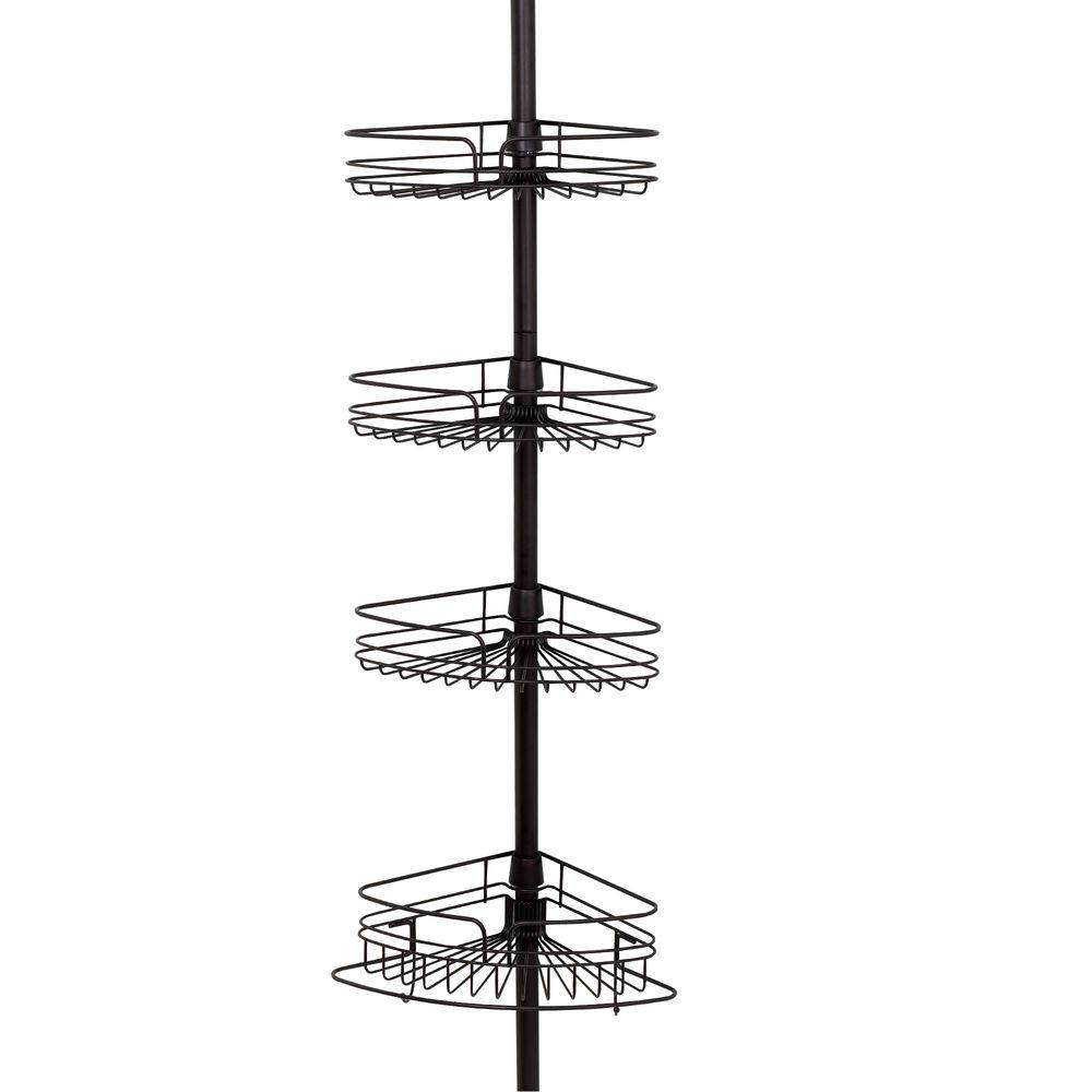 Glacier Bay 4-Shelf Tension Pole Caddy in Bronze-2132HBHD - The Home ...