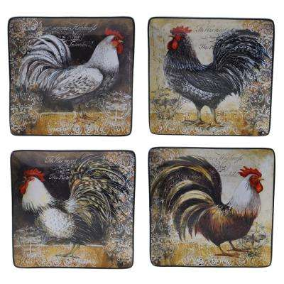 Vintage Rooster Collection Rustic 10.25 in. Dinner Plate (Set of 4)
