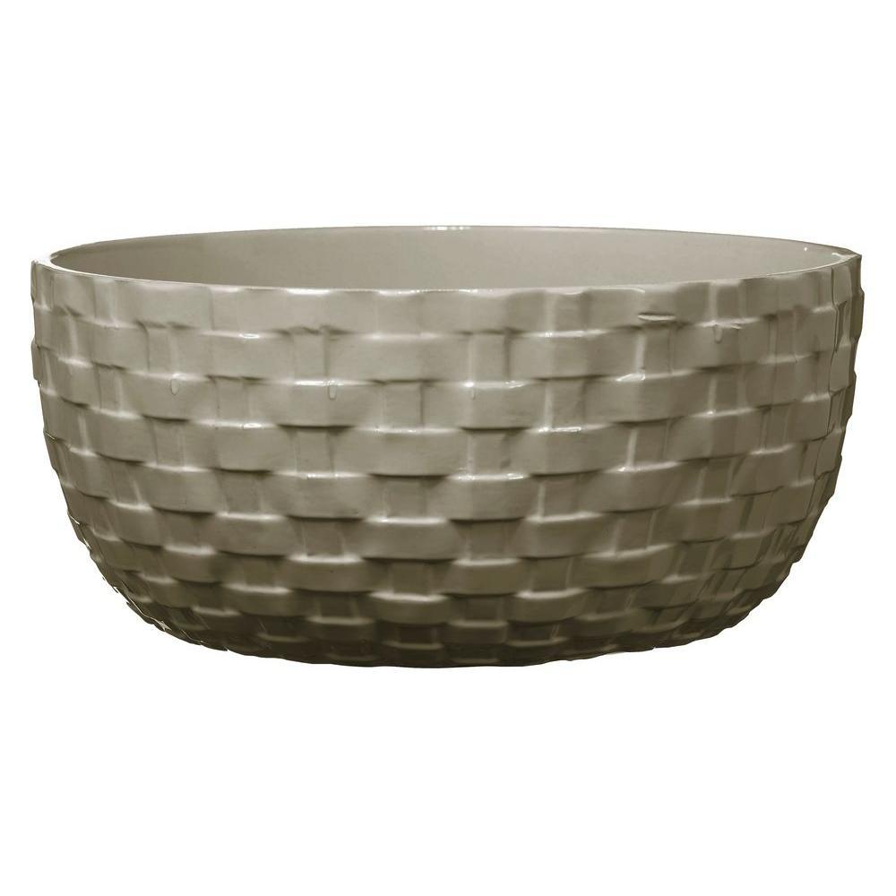 Kiruna Bowl 8 in. Dia Light Gray Ceramic Planter