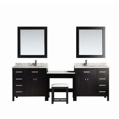 Two London 36 In W X 22 D Vanity Espresso With Marble