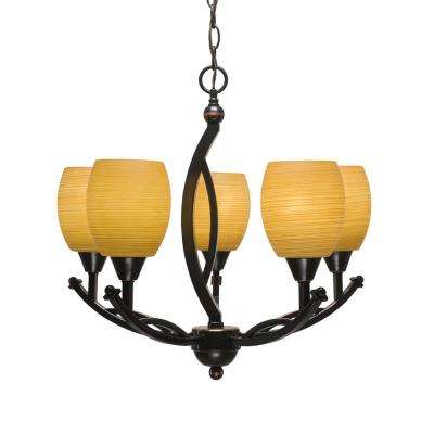 5-Light Black Copper Chandelier with 5 in. Cayenne Linen Glass