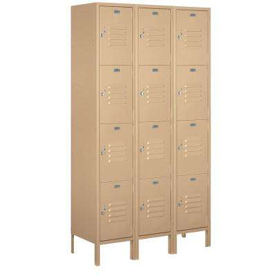18-54000 Series 12 Compartments Four Tier 54 In. W x 78 In. H x 21 In. D Metal Locker Unassembled in Tan
