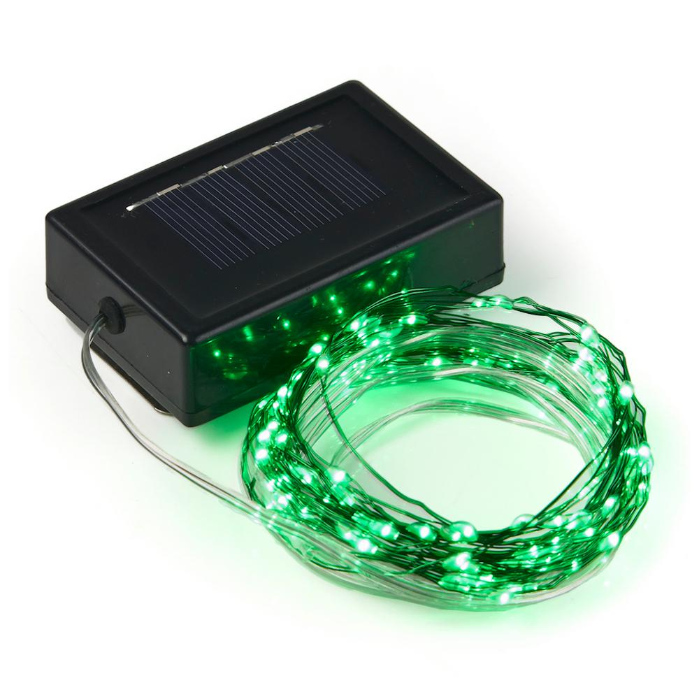 quality design 249b8 39baa 20 ft. 100-Micro LED Solar Powered Copper Wire Green String Light