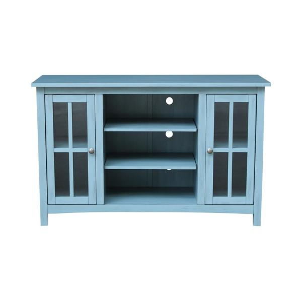 Ocean Blue Solid Wood 48 in. Wide TV Stand
