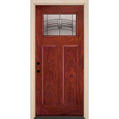 37.5 in. x 81.625 in. Rochester Patina Cherry Mahogany Right-Hand 1/4-Lite Stained in Fiberglass Prehung Front Door