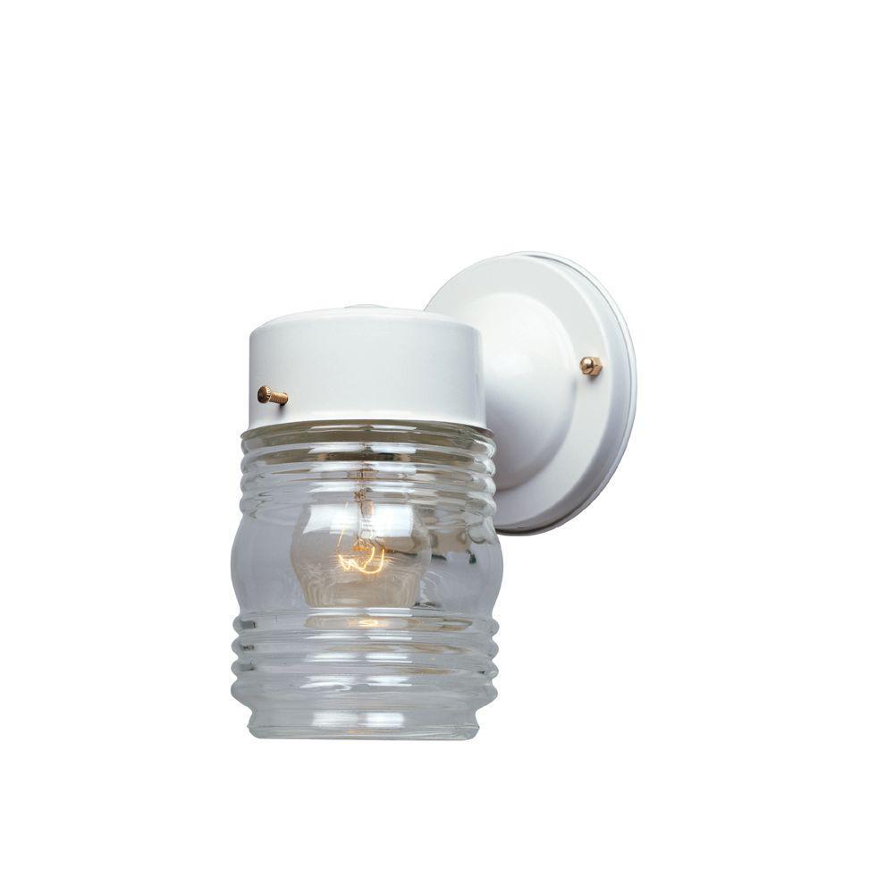 Basic Porch 1-Light White Outdoor Incandescent Wall Lantern