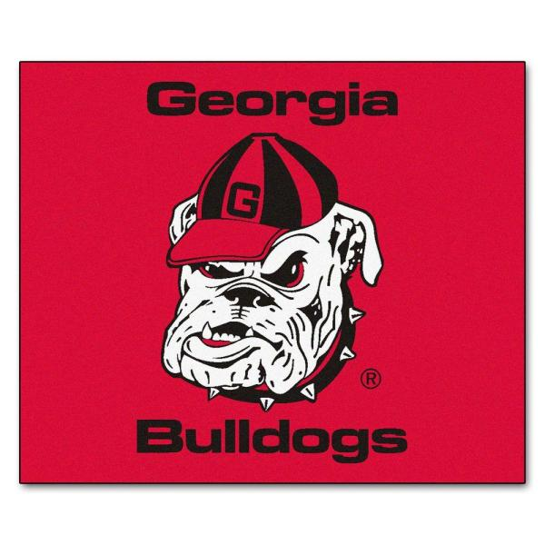 NCAA University of Georgia Red 5 ft. x 6 ft. Indoor/Outdoor Tailgater Area Rug