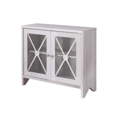 Carden White Oak Accent Storage Cabinet With Glass Window-Panel Doors