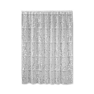 Rabbit Hollow White Lace Curtain 60 in. W x 63 in. L