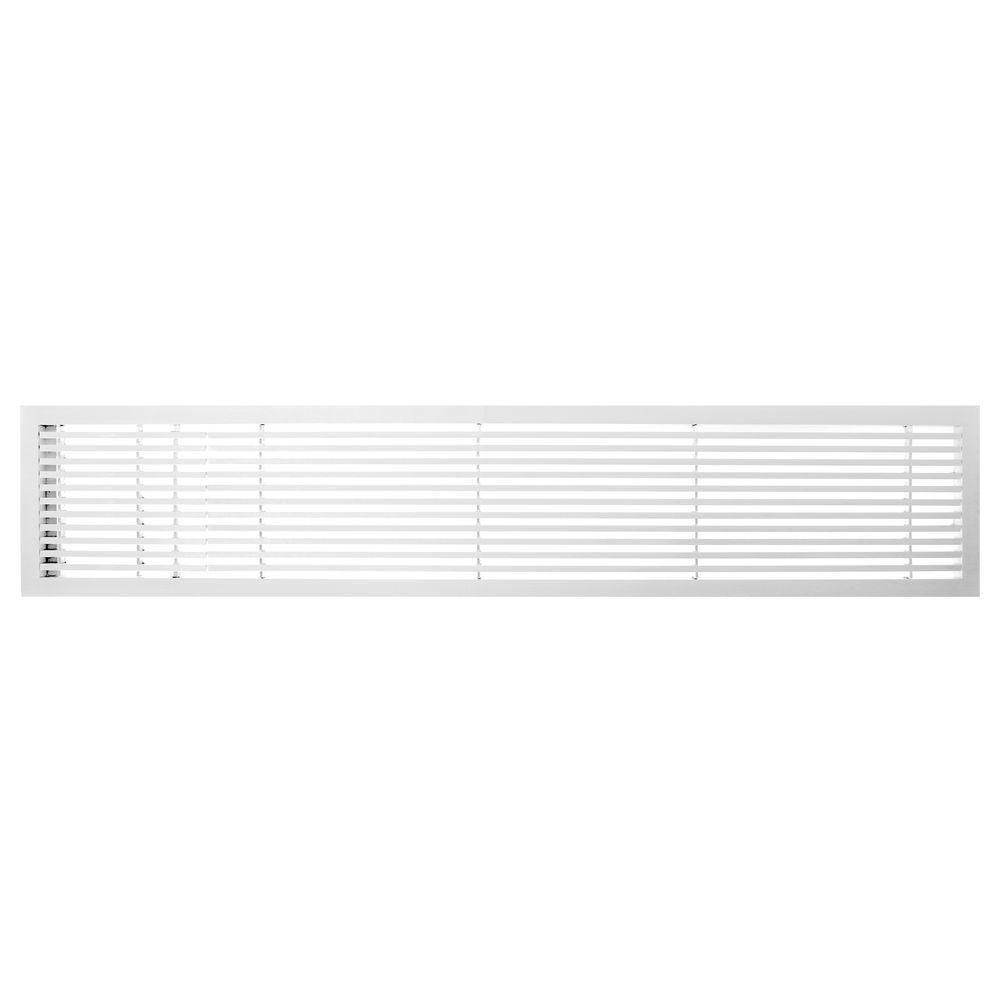 Architectural Grille AG20 Series 6 in. x 48 in. Solid Aluminum Fixed Bar Supply/Return Air Vent Grille, White-Gloss with Left Door