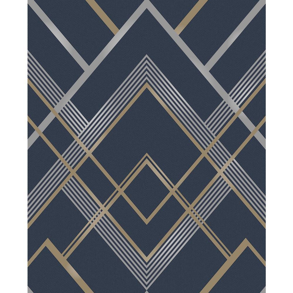 Bradford Navy Geometric Wallpaper