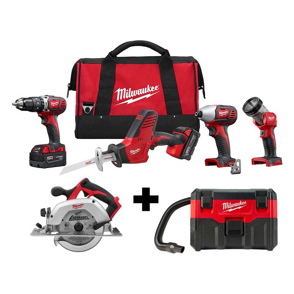 Milwaukee M18 18-Volt Lithium-Ion Cordless Combo Tool Kit (4-Tool) W/ M18 6-1/2 in. Circular Saw & Wet/Dry Vacuum was $647.0 now $349.0 (46.0% off)