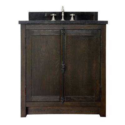 Plantation 31 in. W x 22 in. D Bath Vanity in Brown with Granite Vanity Top in Black with White Rectangle Basin