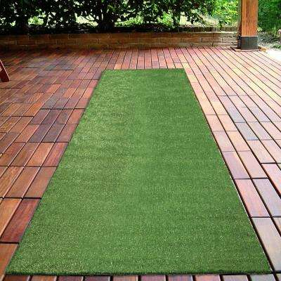 Grassland Collection 2 ft. 7 in. x 8 ft. Indoor/Outdoor Artificial Grass Synthetic Lawn Turf