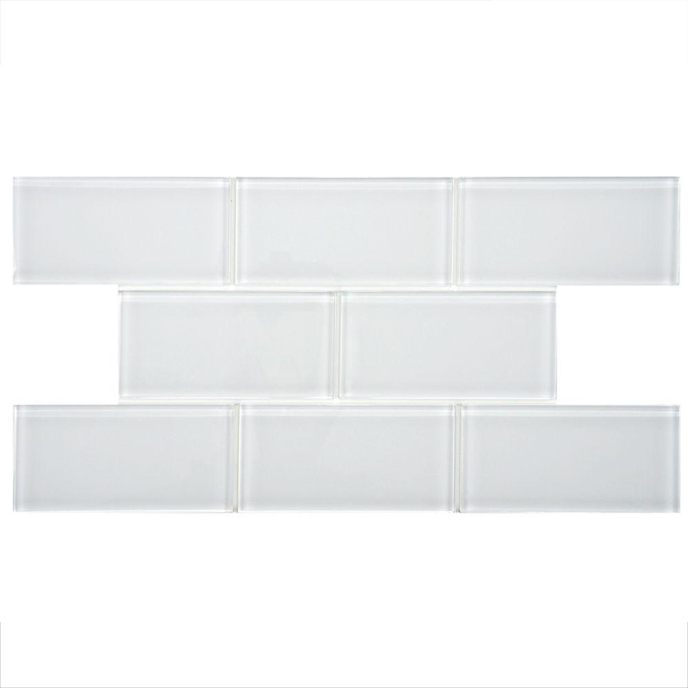 Merola Tile Tessera Subway Ice White 3 in. x 6 in. Glass Wall Tile ...