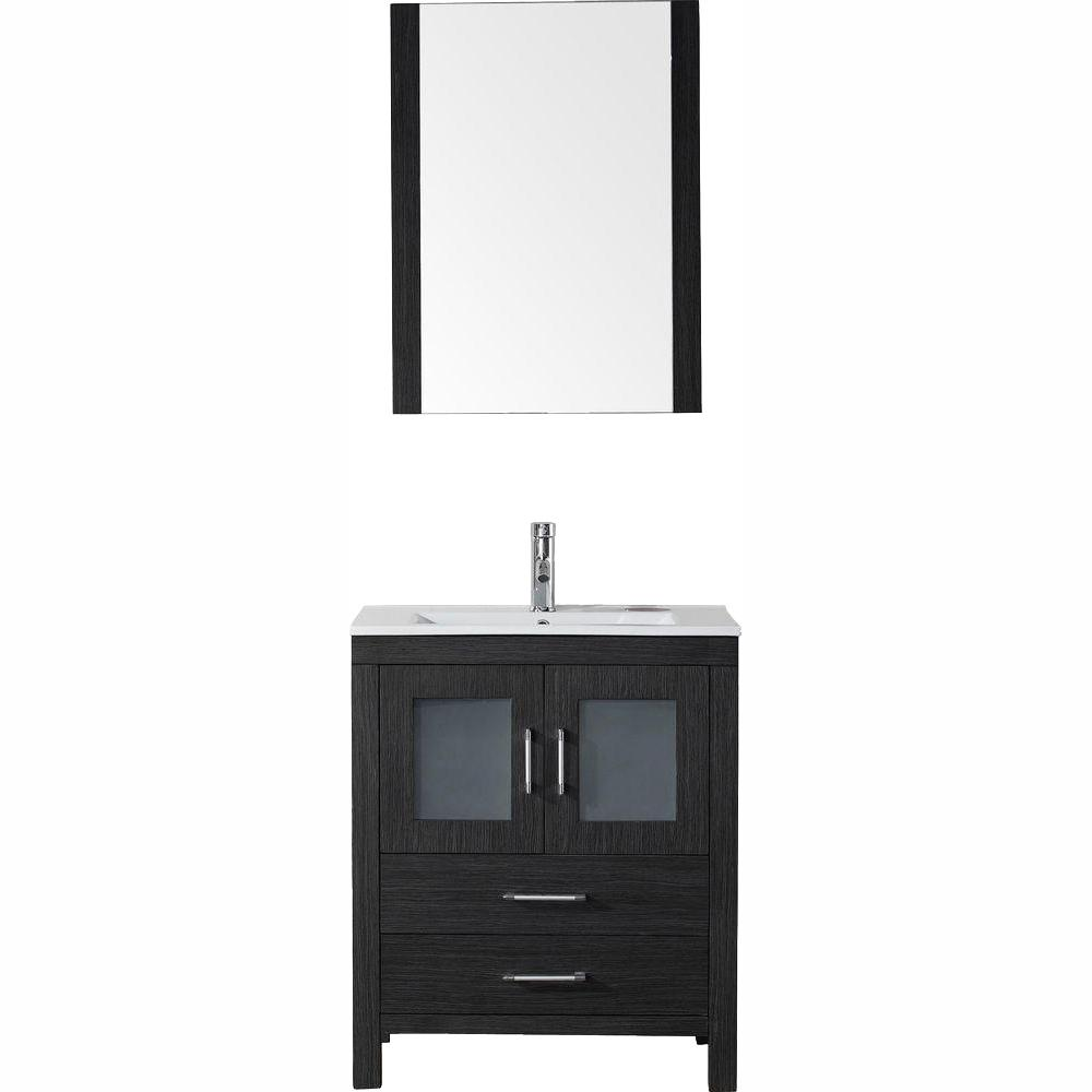 Virtu USA Dior 28 in. W Bath Vanity in Zebra Gray with Ceramic Vanity Top in White with Square Basin and Mirror and Faucet