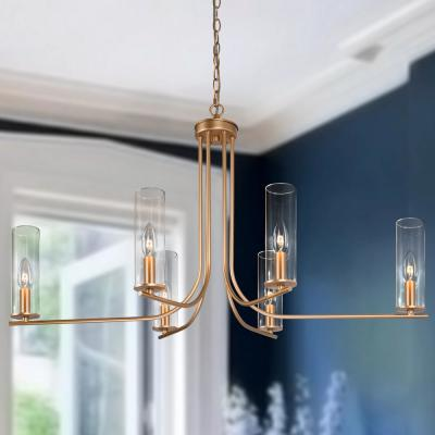 Gina 6-Light Modern Gold Farmhouse Kitchen Island Candle-style Chandelier with Clear Cylinder Glass Shades