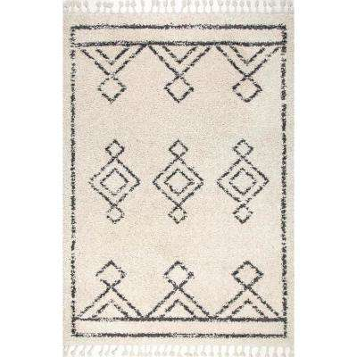 Mackie Moroccan Diamond Tassel Off-White 9 ft. 2 in. x 12 ft. Area Rug