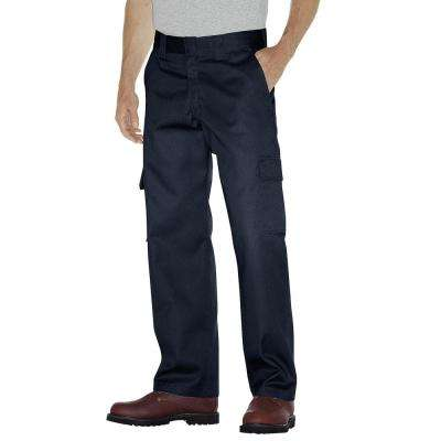 Men's 36 in. x 30 in. Dark Navy Relaxed Fit Straight Leg Cargo Work Pant