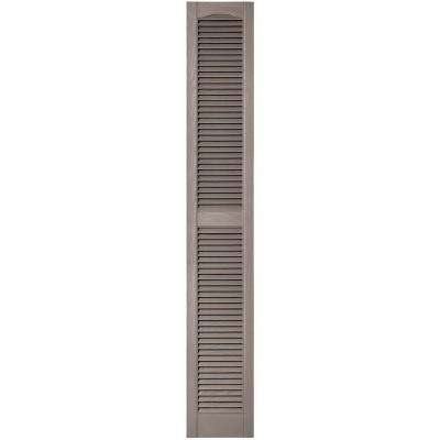 12 in. x 75 in. Louvered Vinyl Exterior Shutters Pair in #008 Clay