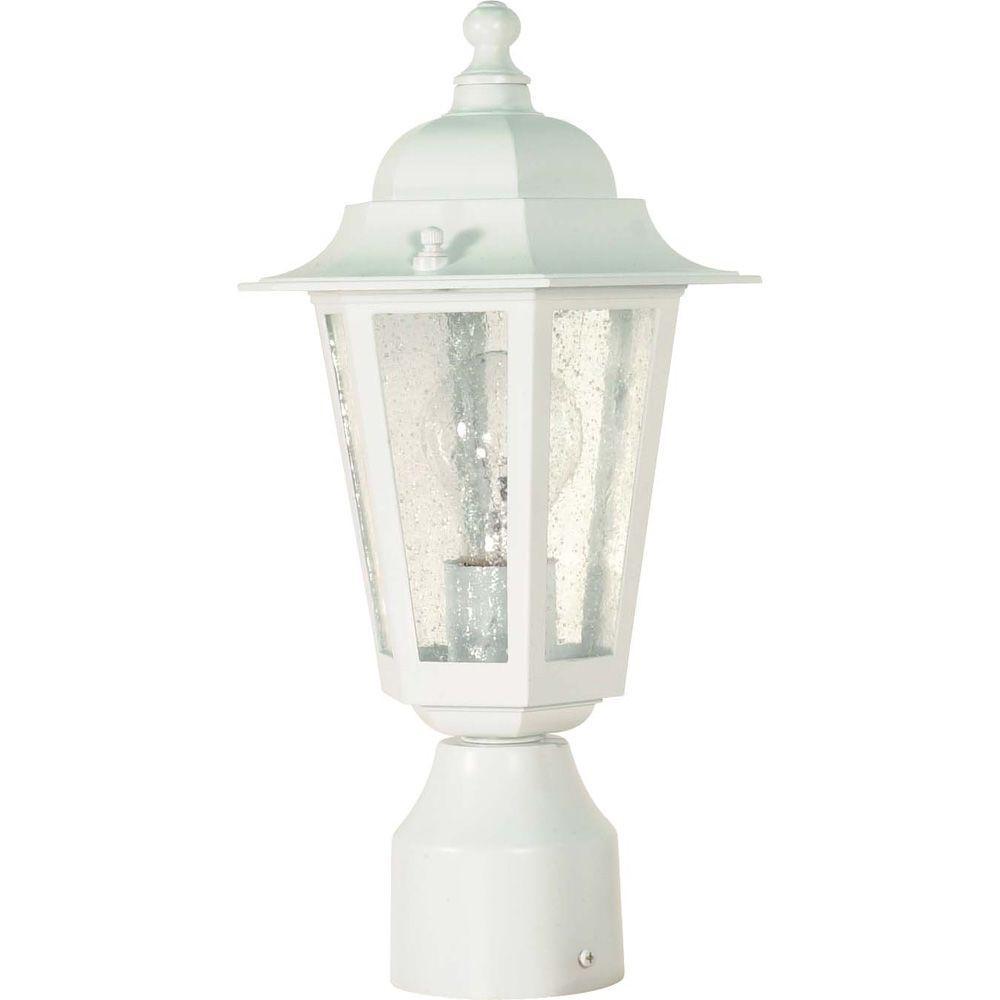 1-Light Outdoor White Incandescent Post Light
