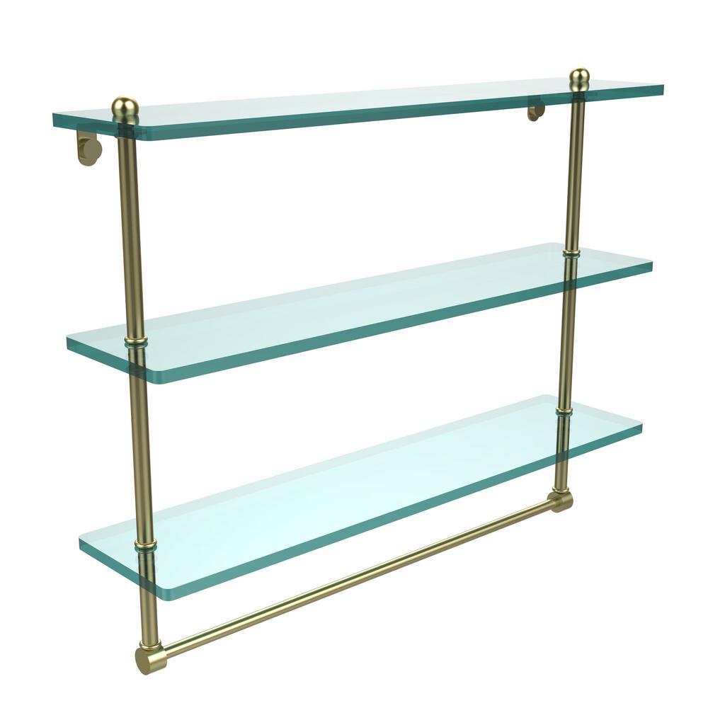 22 in. L  x 18 in. H  x 5 in. W 3-Tier Clear Glass Bathroom Shelf with Towel Bar in Satin Brass