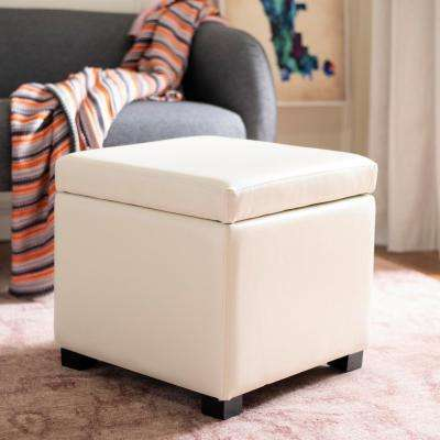 Sergio Off White Storage Ottoman