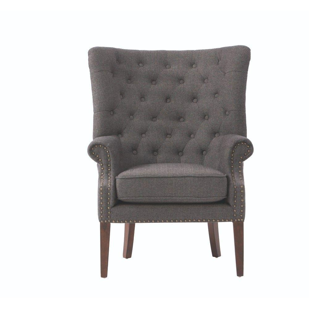 Home Decorators Collection Ernest Herringbone Black Polyester Arm Chair