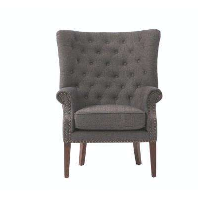 Ernest Herringbone Black Polyester Arm Chair