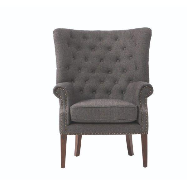 Home Decorators Collection Ernest Herringbone Black Polyester Arm Chair 7439600780