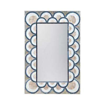 Art Deco 47 in. x 32 in. Rectangular Capiz Shell And Glass Mosaic Framed Mirror