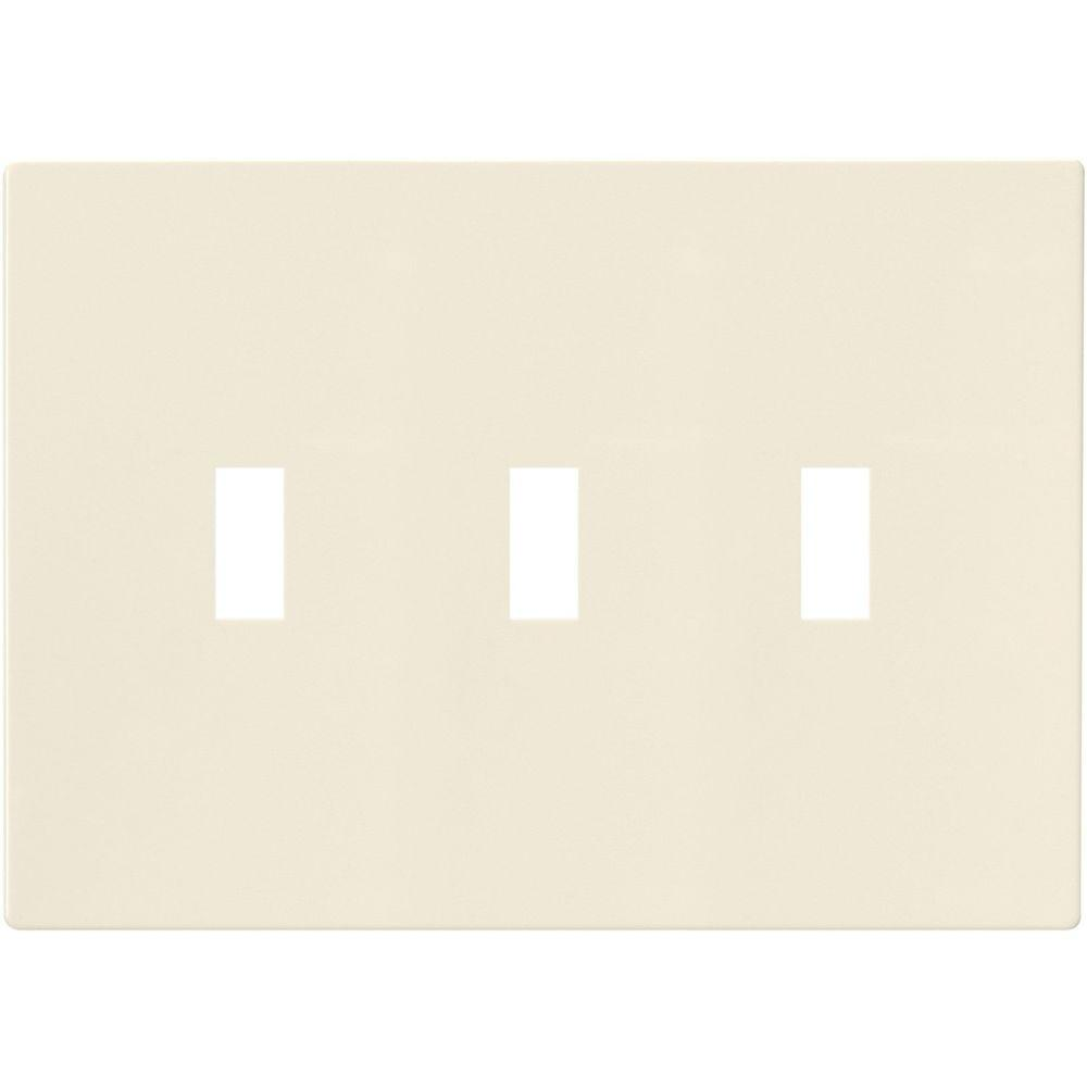 Eaton 3-Gang Screwless Toggle Polycarbonate Wall Plate - Light Almond