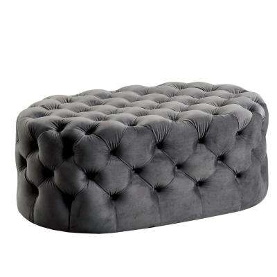 Miller Gray Oval Button Tufted Ottoman