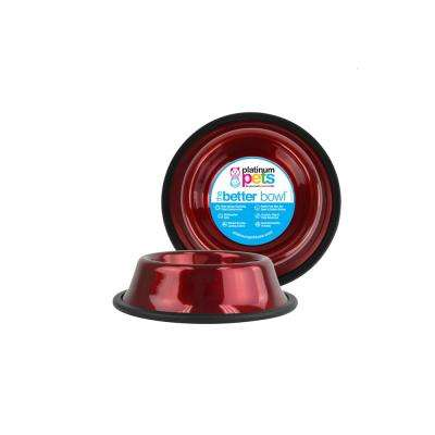 1.25 Cup Non-Tip Stainless Steel Dog/Cat Bowl, Candy Apple Red