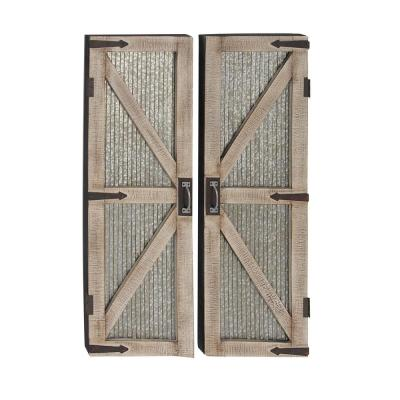 LITTON LANE Barn Door Wooden Wall Art (Set of 2), Brown/ Gray/ Black
