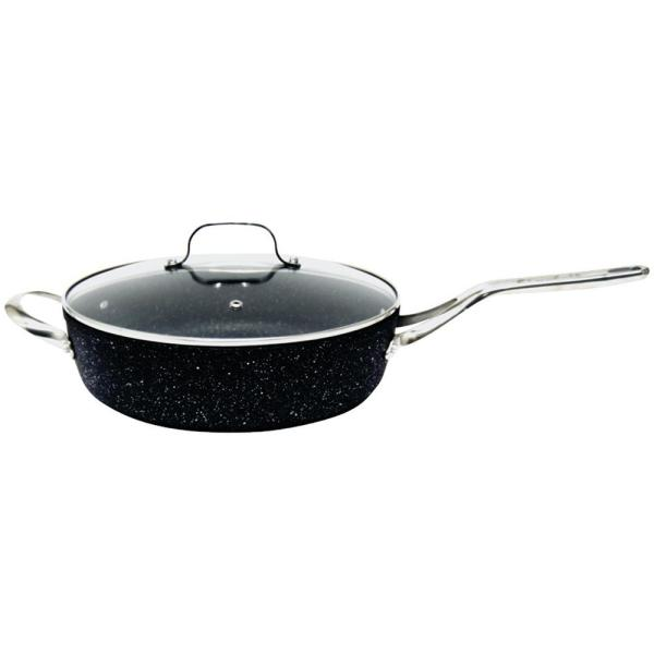 The Rock 11 in. Aluminum Nonstick Frying Pan in Black Speckle with Glass Lid