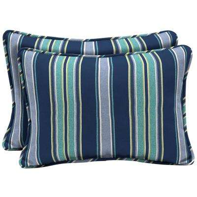 22 x 15 Sapphire Aurora Stripe Oversized Lumbar Outdoor Throw Pillow (2-Pack)