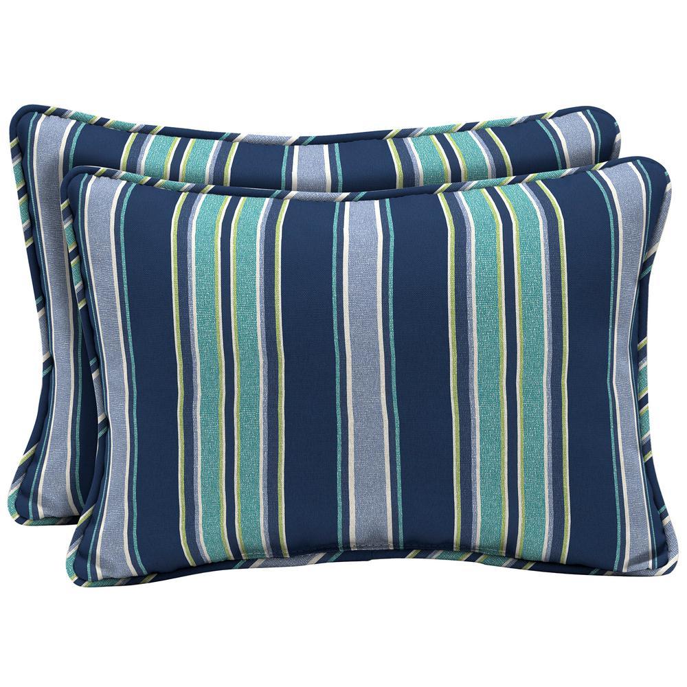Sapphire Aurora Stripe Oversized Lumbar Outdoor Throw Pillow (2-Pack)