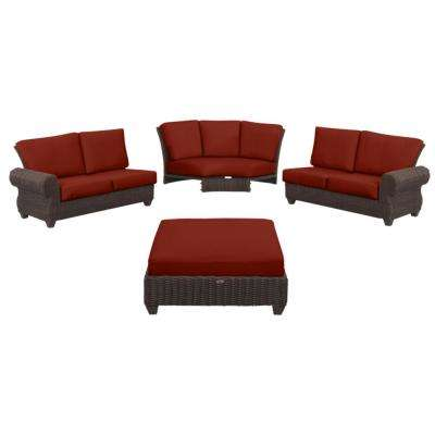 Mill Valley 4-Piece Brown Wicker Outdoor Patio Sectional Sofa Set with Sunbrella Henna Red Cushions